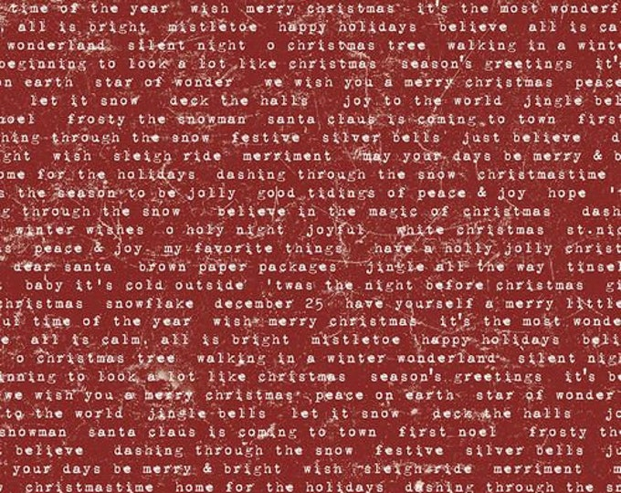 Free Spirit - Eclectic Elements - Yuletide by Tim Holtz - Tidings Type Red PWTH124.RED - Cotton Woven Fabric