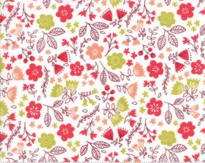 Moda Fabric - Just Another Walk in the Woods - Toss the Garden Cream Cotton Woven Fabric