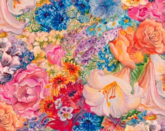 3 Wishes Fabric - Ray of Hope by Josephine Wall - Floral Digitally Printed # 16046-MUL - Cotton Woven Fabric
