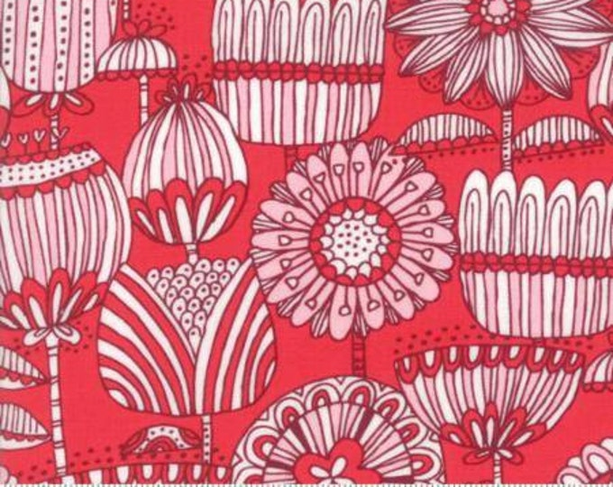 Moda Fabric - Just Another Walk in the Woods - Funny Flower on Pink Cotton Woven Fabric