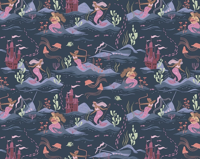 Dear Stella -  Sea Spell by Rae Ritchie - Blueberry Sea Spell Mermaids # ST-SRR1422BL - Cotton Woven Fabric