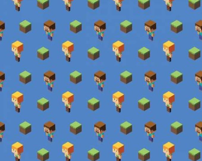 Springs Creative - Mojang Minecraft - Alex & Steve Tossed - Blue - Cotton Woven Fabric