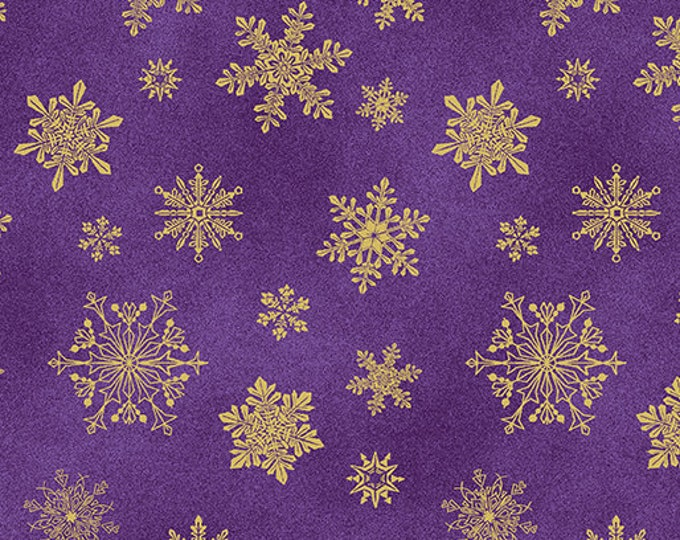 Benartex Fabrics  - Cat-i-tude Christmas by Ann Lauer -Purple Playful Flakes Cotton Woven Fabric with Metallic Accents 6747M-66