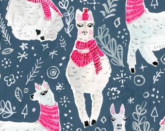 Dear Stella - Moonlight Winter Llamas ST-DAW1205MO Cotton Woven Fabric