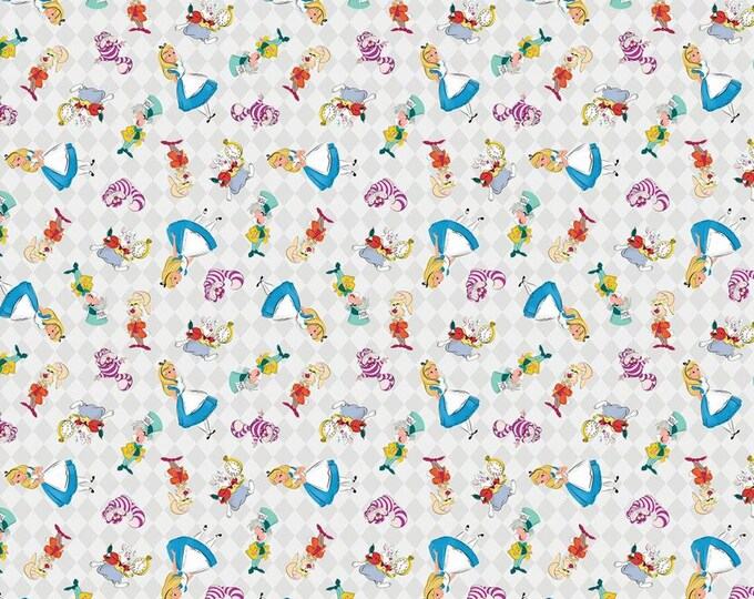 Alice in Wonderland and Friends on White Cotton Woven by Springs Creative