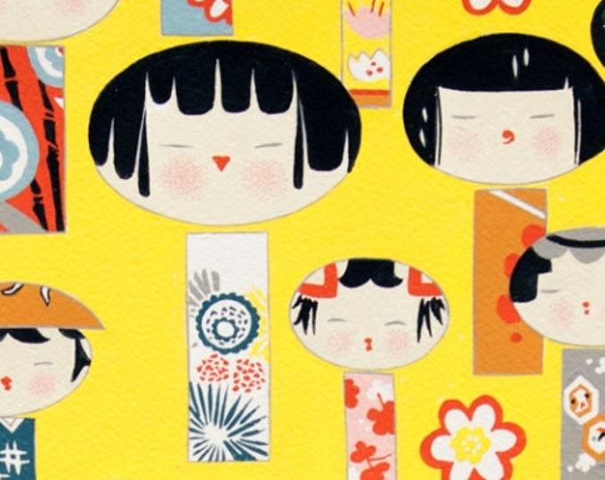 Alexander Henry Fabric - Yellow Yui Kokeshi Ginger, Cotton Woven Fabric