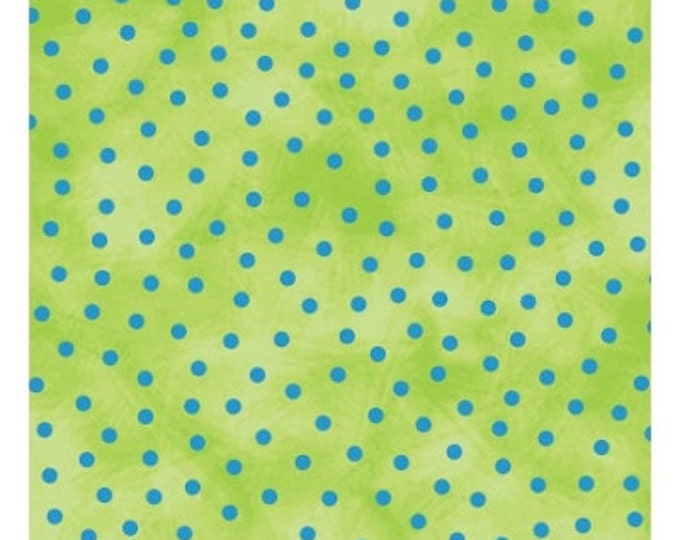 Cloth Works Friends in Wild Places Blue dots on Lime 1 Yard