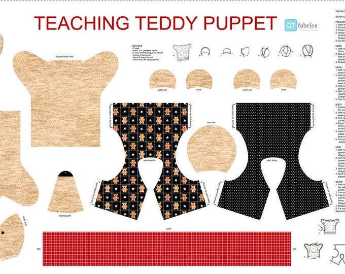 """Quilting Treasures - Sew N Go IX - Tan Teaching Teddy Puppet 27280 A - 24"""" Panel  - Cotton Woven Fabric"""