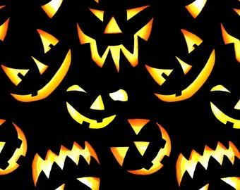 Blank Quilting - Thriller Night - Jack-O-Lanterns Black 1012G-99 - Glow in the Dark - Cotton Woven Fabric