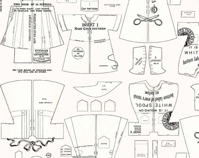 Riley Blake Fabrics - Paperdoll by  J Wecker Frisch - Off White Clothes Patterns - Cotton Woven Fabric