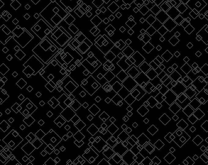 Ann Lauer - Cat-I-Tude 2 Purrfect Together - Tonal Square - Black - Cotton Woven Fabric - Benartex 7549B-12