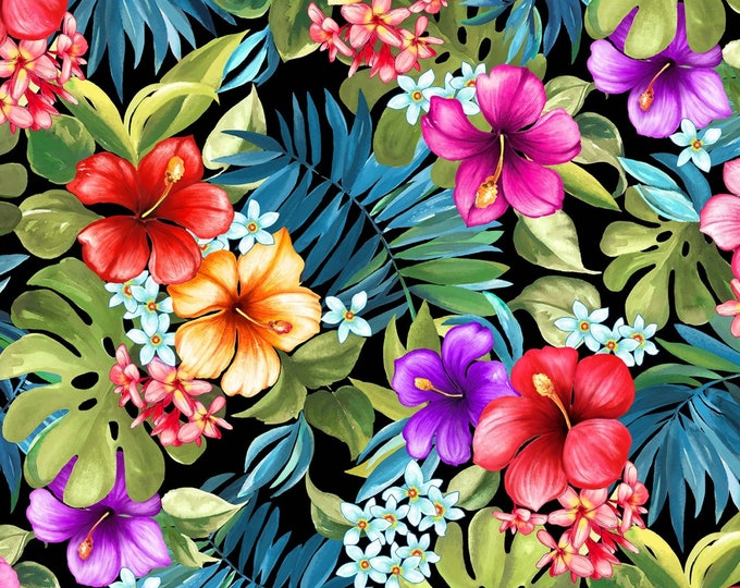 Michael Miller Fabrics - Lost in Paradise - Tropical Bliss Black # DCX9114-BLAC-D - Cotton Woven Fabric