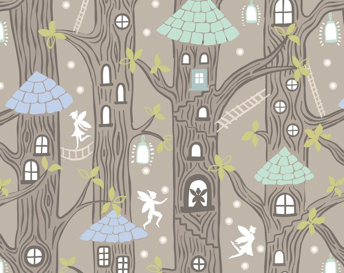 Lewis & Irene - Fairy Lights - Fairy Houses - Natural - Glow in the Dark Cotton Woven Fabric