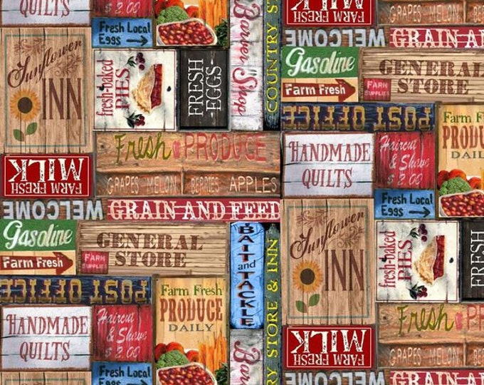 Blank Quilting - Country Paradise by Christina Bramhall - Tan Country Signs 9356-35 Cotton Woven Fabric