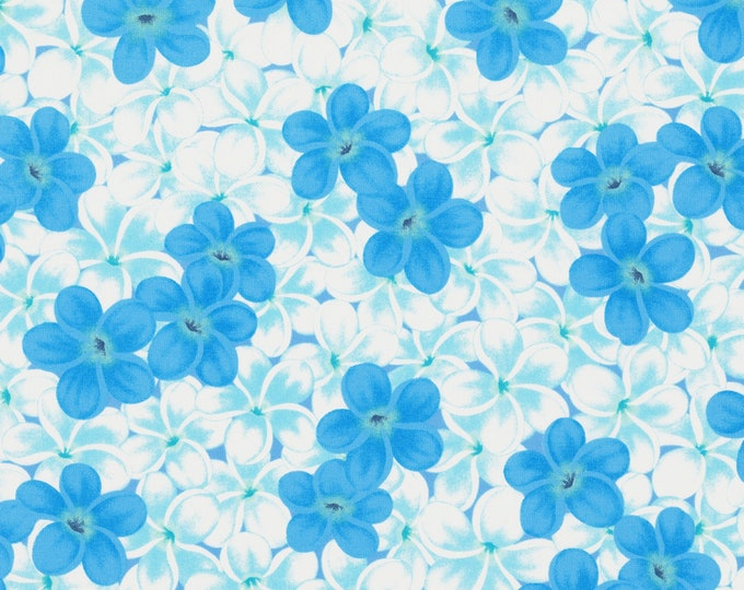Lecien Fabrics - Kathy Mom 2018 Collection -  Blue Floral on White, 20108L-70, Cotton Woven Fabrics