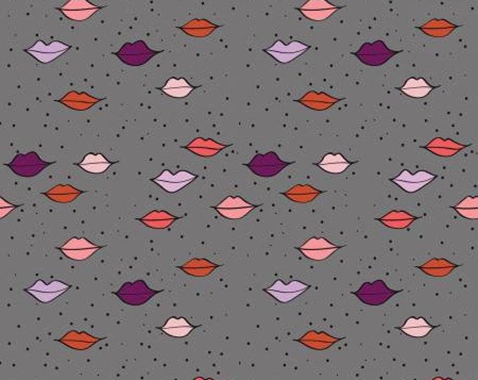 Riley Blake Fabrics - Kiss Me Kate by See Kate Sew - Kiss Lips - Gray   C7520-Gray Cotton Woven Fabric