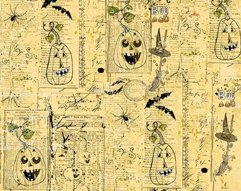 Clothworks - Something Wicked - Newsprint Collage in Pale y2428-67 Cotton Woven Fabric