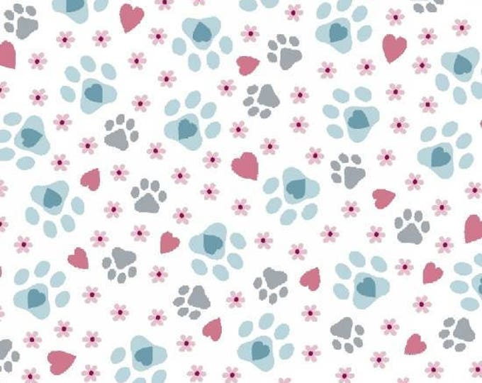 Cat-i-tude designed by Ginger Oliphant Paw Prints on White cotton woven fabric