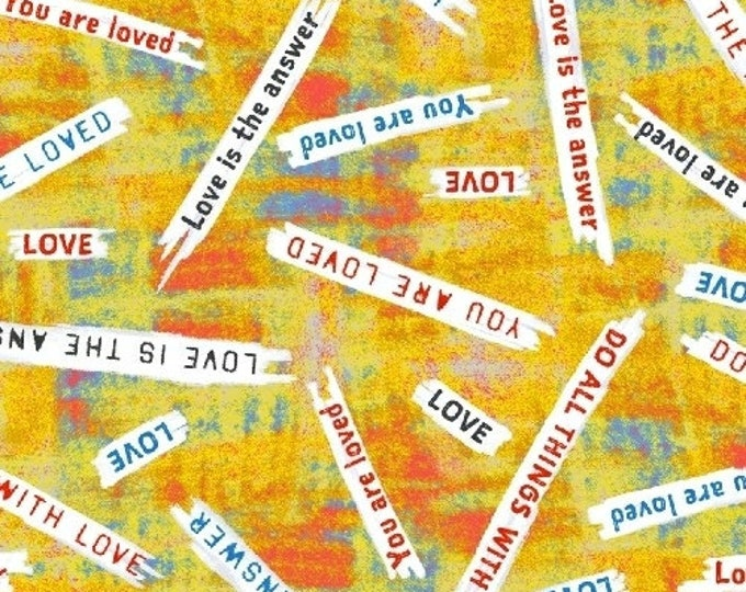 Windham Fabrics - Unstoppable by Whistler Studios - Yellow Love is the Answer 51503-6 - Cotton Woven Fabric