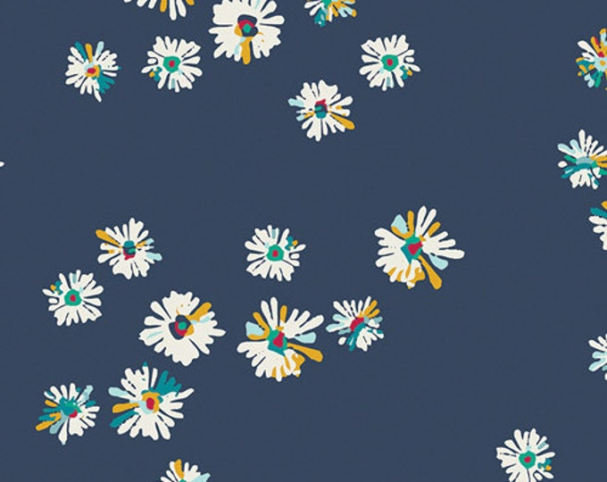 """Art Gallery Fabric - Sun Kissed by Maureen Cracknell - Hazy Daisies Marine Cotton Spandex 58-60"""" Wide  84301"""