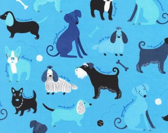 Robert Kaufman Fabric - Classy Canines Dogs on Blue Cotton Woven