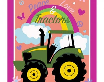 "Springs Creative - Licensed John Deere Tractors - Peace and Love 36"" Panel Cotton Woven Fabric"