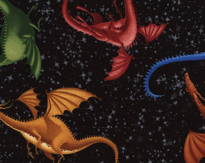 Timeless Treasures - Dragons on Black Cotton Woven Fabric