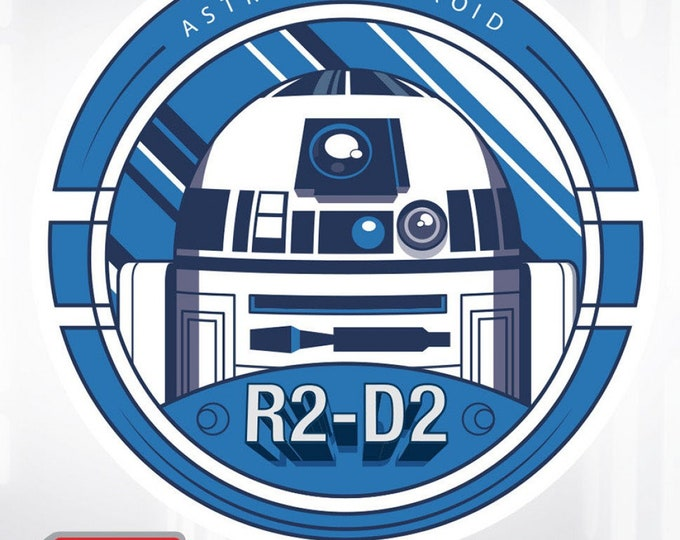 "Fun Stuff-Camelot Fabrics-Ad Fab Adhesive Badge - Star Wars -SW R2-D2 Astromech Droid - Adhesive Fabric 3"" Badge #73010423X - 100% Polyester"