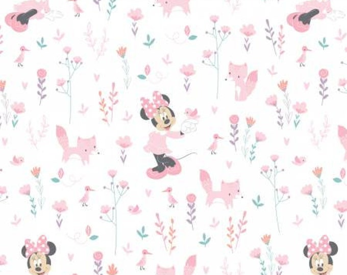 Little Fox in Pink Cotton Woven Fabrics 85270402 - Mickey and Minnie in the Meadow by Camelot Fabrics