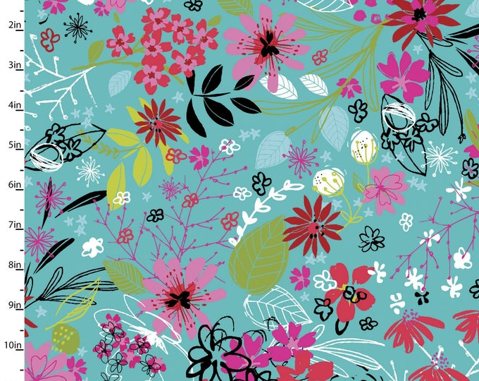 3 Wishes Fabric - Bright Birds - Tossed Floral - 14990-TURQ - Digitally Printed Cotton Woven Fabric