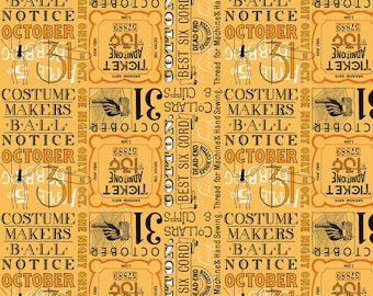 Riley Blake - Costume Makers Ball by Janet Wecker-Frisch - Ticket Text Orange #C8368R-ORANG Cotton Woven Fabric