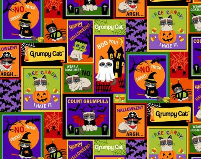 Marcus Brothers Fabric - Grumpy Cat Holidays - Halloween Patches - Cotton Woven Fabric