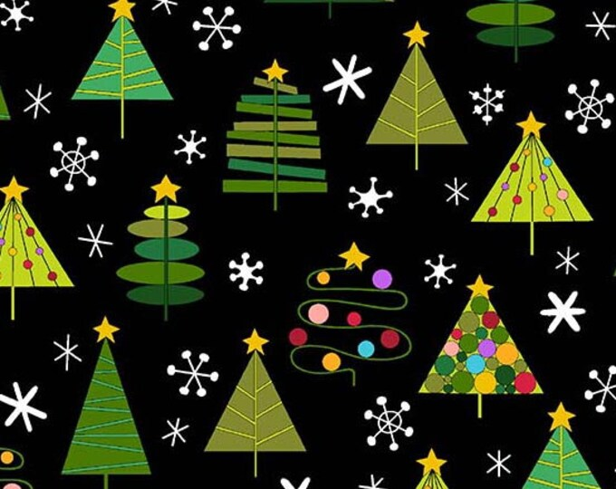 Andover Fabric - Holiday Tweets -  Trees on Black Cotton Woven Fabric