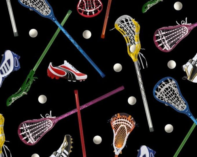 Elizabeth Studio - Lacrosse Sticks and Balls on Black Cotton Woven Fabric