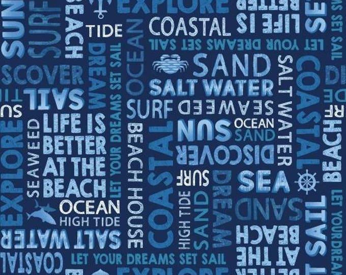 Indigo Coastal, Nautical Blue Coastal Words Cotton Woven