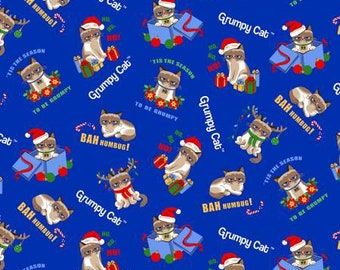 Marcus Brothers Fabric - Grumpy Cat Holidays - Blue Grumpy Christmas - Cotton Woven Fabric