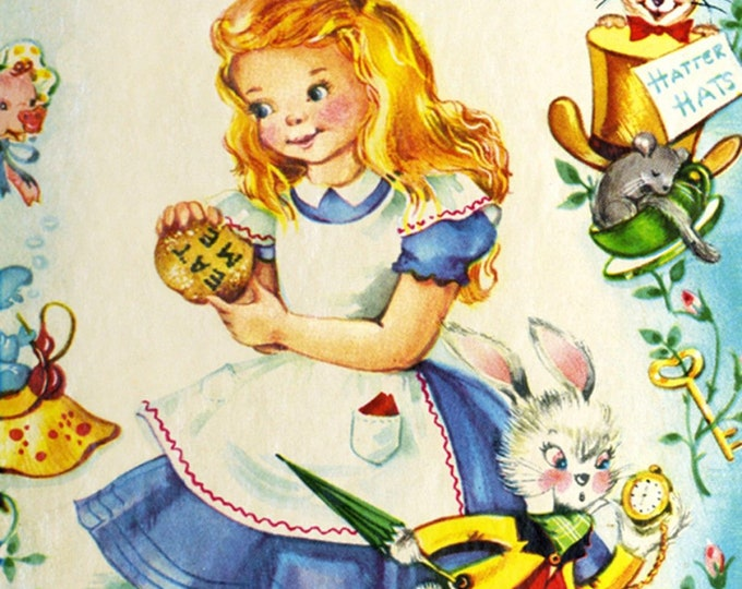 David's Textiles - Vintage Storybooks from Four Seasons - Alice in Wonderland # BW01480C1 - Cotton Woven Fabric