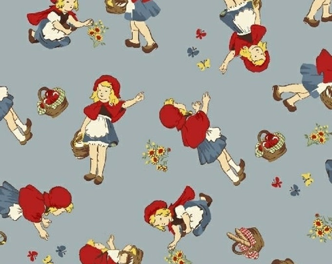 Windham Fabrics - Little Red Riding Hood -  50298-2,  Girl on Blue Cotton Woven fabric