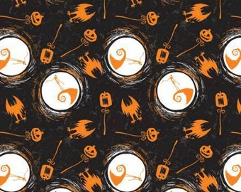 Camelot Fabric - Nightmare Before Christmas - On the Hill Orange and Black  Jack Skellington cotton fabric Fabric