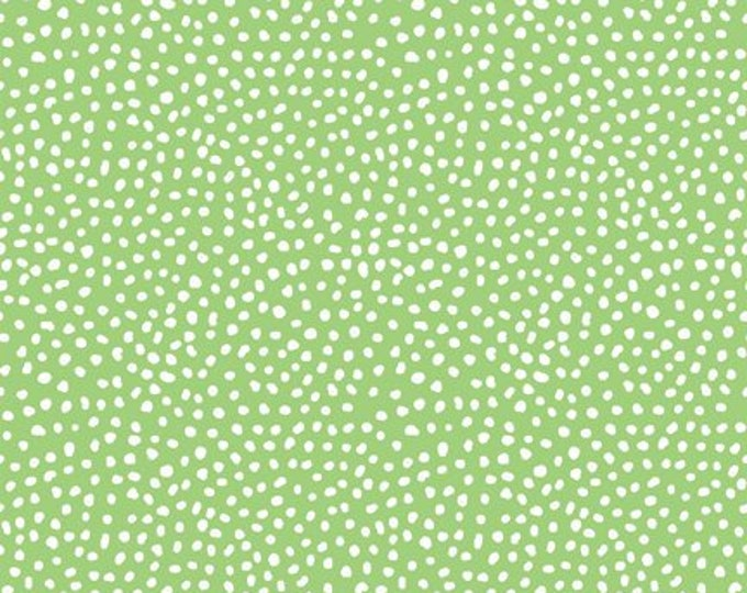 Doodle Blossom - Dots on Green - Digitally Printed Cotton Woven Fabric