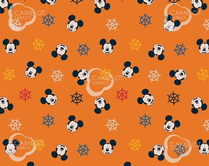 Camelot Fabric - Licensed Disney's Mickey Mouse Oh Boy! - Ship's Wheel in Orange #85270502 03 Cotton Woven Fabric