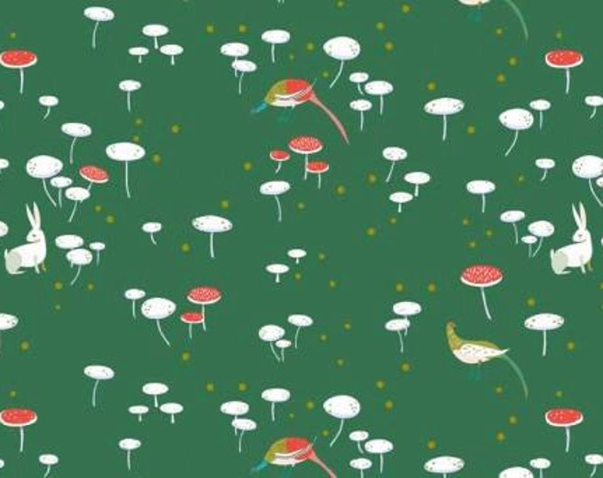 CLEARANCE -      Andover Fabric - The Lovely Hunt by Lizzy House -  Fairy Rings in Green Cotton Woven Fabric - 1 yard listing