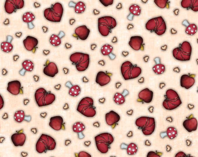 Quilting Treasures - My Story Licensed Santoro - Light Tan Heart & Mushroom Toss 27143A - Cotton Woven Fabric