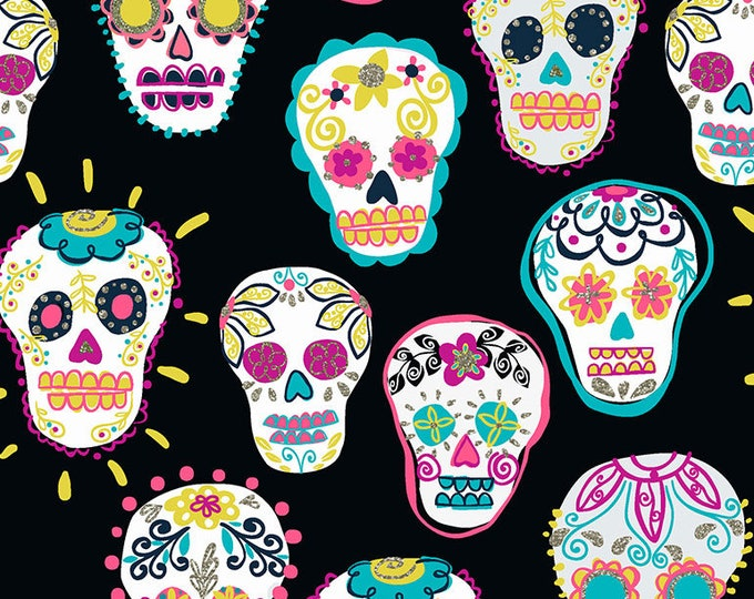 CLEARANCE  -   Sugar Skulls on Black  Cotton Woven fabric - price is per yard