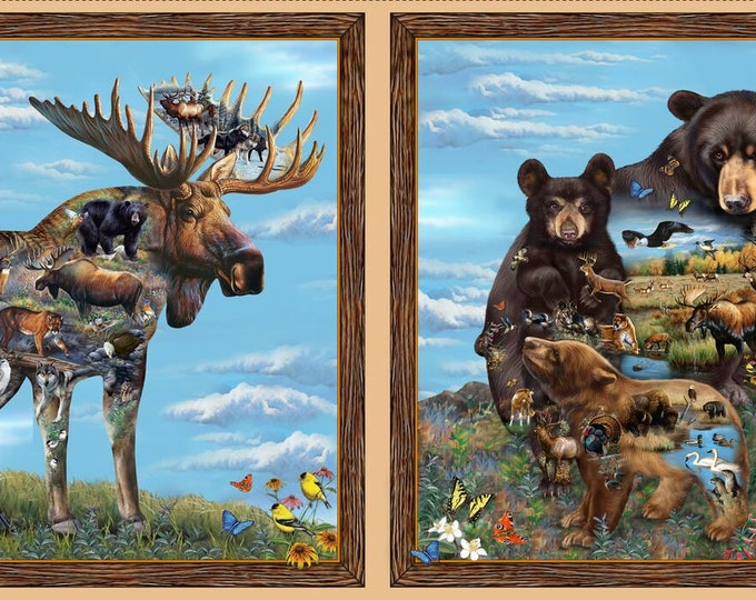 """Quilting Treasures Fabric - Artworks XI -  Moose and Bear  #26986X  by Cynthie Fisher 24"""" X 44""""  Digital  Panel Cotton Woven Fabric"""