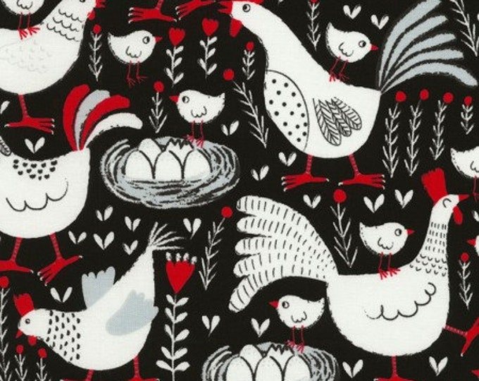 Black Farm Chickens - Cotton Woven Fabric - Timeless Treasures C6691
