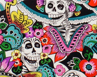 Alexander Henry Fabrics Catrina Chiquita, folklorico  in Natural Cotton Woven Fabric
