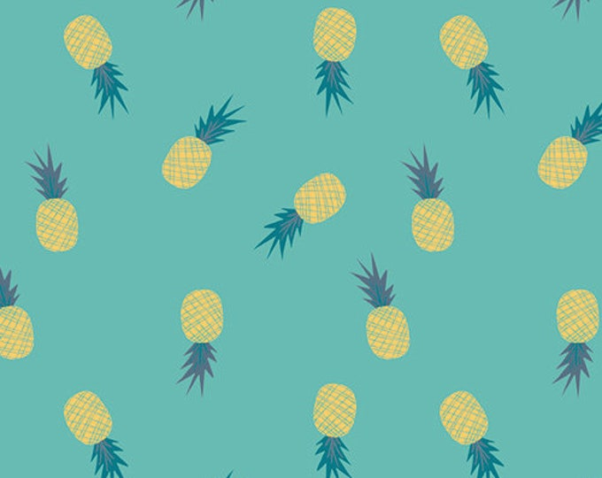 Art Gallery Fabric - Sirena  - Aqua Ananas - Cotton Woven