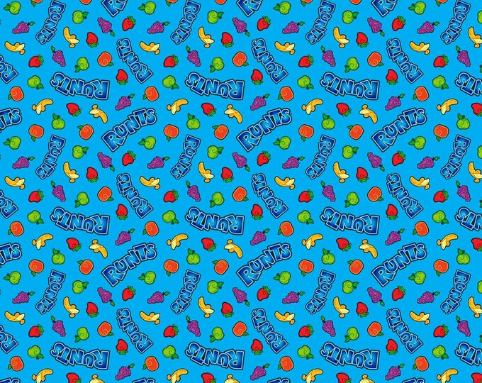 CLEARANCE - Springs Creative - Runts Candy on Blue Cotton Woven Fabric
