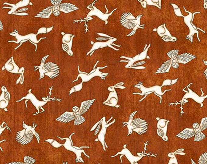 Quilting Treasures - Where the Wise Things Are by Dan Morris - Mini Animal Toss in Rust Cotton Woven Fabric